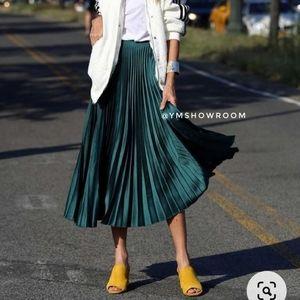 ZARA Satin pleated midi skirt